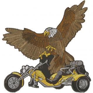 Rückenaufnäher - Trike mit Adler - 08019 gelb - Gr. ca. 22 x 21 cm - Patches Stick Applikation