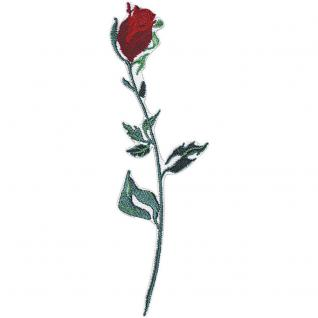 Applikation Patches Stick Emblem Aufnäher Abzeichen Motivstick - ROSE Blume Pflanze - Gr. ca. 4cm x 7cm (04089)