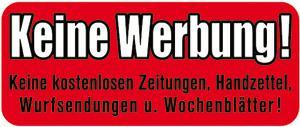 PVC-Aufkleber - KEINE WERBUNG - 302081/1 - Gr. ca. 48 x 20 mm