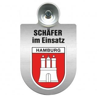 Einsatzschild Windschutzscheibe incl. Saugnapf - Schäfer im Einsatz - 309387 - Region Hamburg