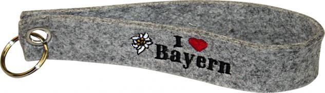 Filz-Schlüsselanhänger mit Stick I love Bayern Gr. ca. 19x3cm 14012 grau