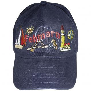 Cap - Schirmmütze vielfarbig bestickt - Insel Fehmarn - 68872 schwarz - Baumwollcap Cappy Baseballcap Hut