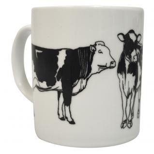 Tasse Kaffeebecher mit Print Kuh Bulle Rind Ochse 57431 weiß