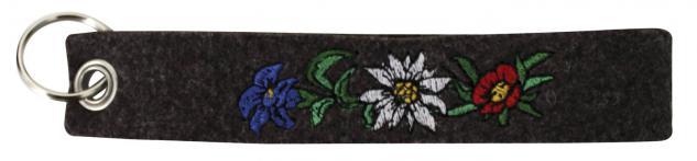 Filz-Schlüsselanhänger mit Stick Edelweiß, Enzian und Alpenrose Gr. ca. 17 x 3cm 14019 schwarz