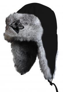 Chapka Fliegermütze Pilotenmütze Fellmütze in schwarz mit 28 verschiedenen Emblemen 60015-schwarz Wolfkopf