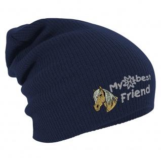 Longbeanie Slouch-Beanie Mütze Haflinger my best friend 54840 Navy