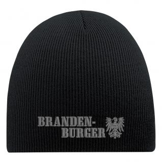 Beanie-Mütze mit Einstickung - BRANDENBURGER - Wollmütze Wintermütze Strickmütze - 54817 schwarz