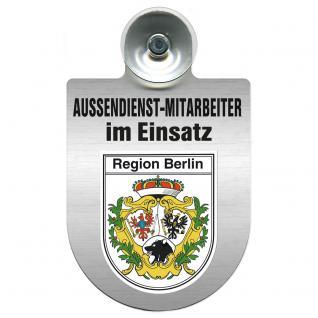 Einsatzschild Windschutzscheibe incl. Saugnapf - Außendienstmitarbeiter im Einsatz - 309366-14 - Region Berlin