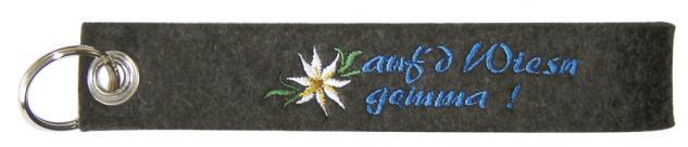 Filz-Schlüsselanhänger mit Stick Auf d Wiesn gemma Gr. ca. 19x3cm 14004 dunkelgrau