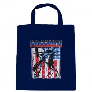 Baumwolltasche mit Print USA Amerika Freedom Freiheitsstatue - B10983 Navy