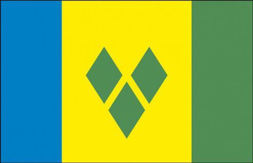 Stockländerfahne - St. Vincent und Grenadinen - Gr. ca. 40x30cm - 77158 - Länderfahne, Dekkofahne, Flagge