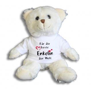 Teddybär mit Shirt - Für die beste Enkelin der Welt - Größe ca 26cm - 27034 weiß