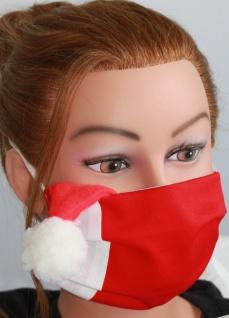 Textil Design Maske aus Baumwolle, mit zertifiziertem Innenvlies - Bommel rot-weiß - 15887 Weihnachten