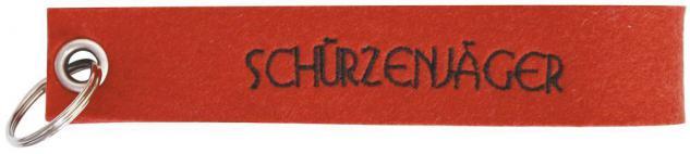 Filz-Schlüsselanhänger mit Stick SCHÜRZENJÄGER Gr. ca. 17x3cm 14161 rot