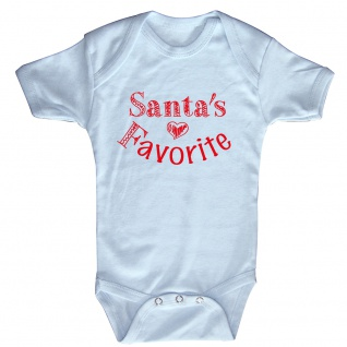 Babystrampler Print Weihnachten Santa´s Favorite 12745 Gr. hellblau / 6-12 Monate