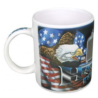 Kaffeetasse mit Print Trucker Amerika Flagge Adler LKW 57478