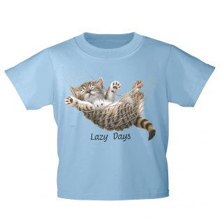 Kinder T-Shirt mit Print Cat Katze Lazy Days in Hängematte KA050/1 Gr. hellblau / 122/128