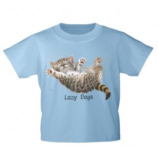 Kinder T-Shirt mit Print Cat Katze Lazy Days in Hängematte KA050/1 Gr. hellblau / 152/164