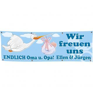 Banner Werbebanner - Wir freuen uns Endlich Oma u. Opa - JUNGE - 3x1m - Spannband für Ihren Werbeauftritt / Bedruckt mit Ihrem Motiv - 309936