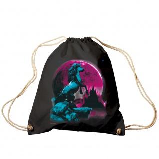 Trend-Bag Turnbeutel Sporttasche Rucksack mit Print - Einhorn bei Mondschein - TB12665 schwarz