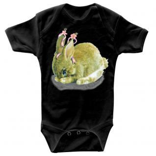 Baby-Body mit Druckmotiv Hase in 4 Farben und 4 Größen B12778 schwarz / 6-12 Monate