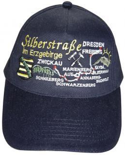 Cap - Schirmmütze groß bestickt - Silberstraße im Erzgebirge - 68867 schwarz - Baumwollcap Cappy Baseballcap Hut