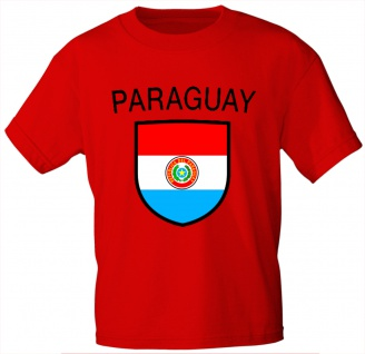 T-Shirt mit Print - Fahne Flagge Wappen Paraguay - 76428 rot Gr. M