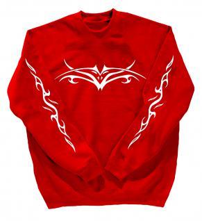 Sweatshirt mit Print - Tattoo - 10120 - versch. farben zur Wahl - rot / S