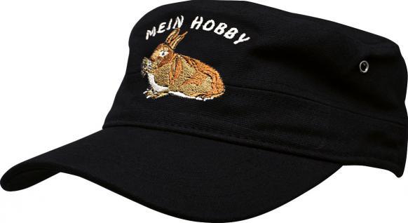 Military - Cap - Base-Cap mit Stick - Hase Kaninchen - Mein Hobby - 60586 schwarz - Kappe Baseballcap Baumwollcap
