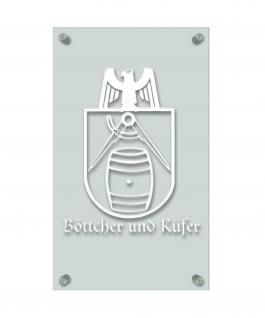 Zunft- Schild - Handwerker-Zeichen - edle Acryl-Kunststoff-Platte mit Beschriftung - Böttcher und Küfer - in gold, silber, schwarz oder weiß - 309434 weiß