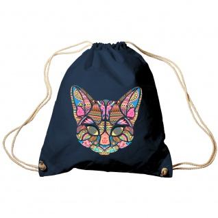Trendbag Sporttasche Turnbeutel Print Katze Cat Mandala - 65139 versch. Farben Navy