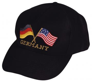 Baseballcap mit Stick - Germany/USA Flagge - 68266 schwarz - Cap Kappe Baumwollcap