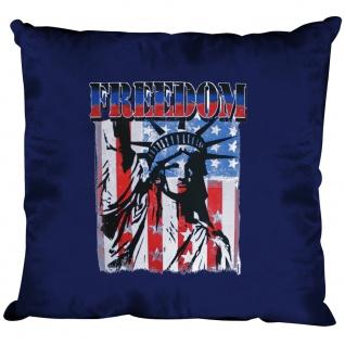 Kissen Dekokissen mit Print USA Freedom Freiheitsstatue K10983 Navy