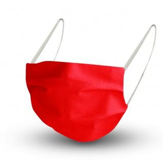 Textil Design-Maske waschbar aus Baumwolle - Unifarben mit Wunschname ROT + Gratiszugabe