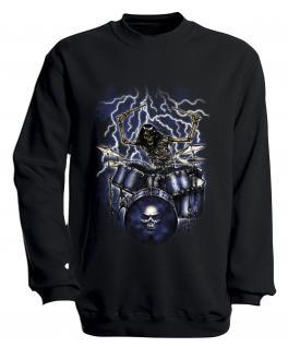 Sweatshirt mit Print - Drummer - S10244 - versch. farben zur Wahl - Gr. schwarz / S