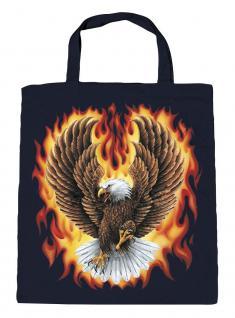Baumwolltasche mit Aufdruck - Eagle Adler Feuer Flammen - 12383