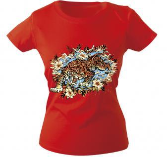 Girly-Shirt mit Print - Tiger - 10973 - versch. farben zur Wahl - Gr. S-XXL rot / M