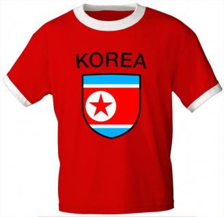 T-Shirt mit Print - Nordkorea - 76422 - rot - Gr. L