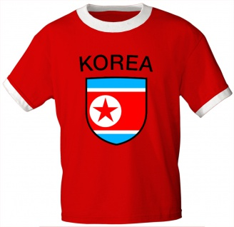 T-Shirt mit Print - Nordkorea - 76422 - rot - Gr. S