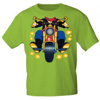 Kinder Marken-T-Shirt mit Motivdruck in 13 Farben Motorrad K12780 122/128 / lime green