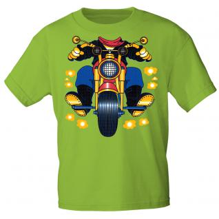 Kinder Marken-T-Shirt mit Motivdruck in 13 Farben Motorrad K12780 98/104 / lime green