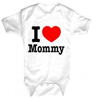 Babystrampler mit Print - I love Momy - 08321 weiß Gr. 0-24 Monate