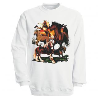 """Sweat- Shirt mit Motivdruck in 6 Farben """" Pferde"""" S12668 weiß / XL"""