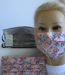 Textil Design-Maske waschbar aus Baumwolle - Ornamente Blumen + Zugabe