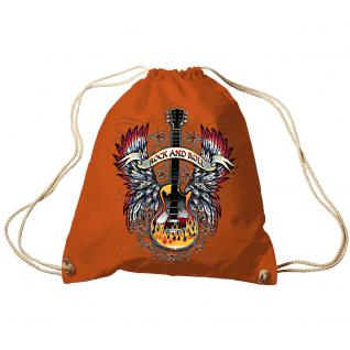 Trend-Bag Turnbeutel Sporttasche Rucksack mit Print - Rock and Roll - TB65303 Orange