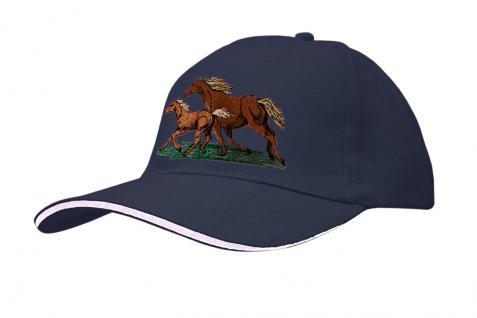 Cap mit gr. Pferde - Stick - galoppierende Pferde - 69248-1 blau - Baumwollcap Baseballcap Hut Cappy Schirmmütze
