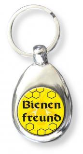 Metall- Schlüsselanhänger mit Einkaufswagen-Chip - Bienenfreund - Größe ca. 3 x 7 cm - 13453 - Keyholder Anhänger mit Print