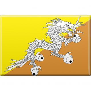 MAGNETBUTTON Länderflagge • BUTAN • NEU Gr. ca. 7, 5cm x 5, 5cm (38026) Metall-Magnet Küchenmagnet