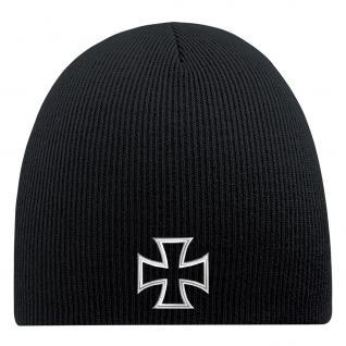 Beanie-Mütze mit Einstickung - KREUZ - Wollmütze Wintermütze Strickmütze - 54559 schwarz