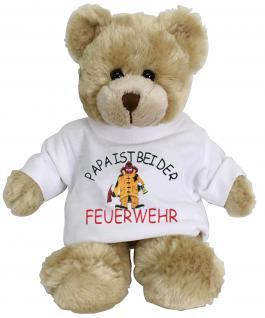 Plüsch - Teddybär mit Shirt - Papa ist bei der Feuerwehr - Größe ca 20 cm - 27012